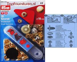 15mm Prym 390314 Anorak drukknopen met pons goudkleur