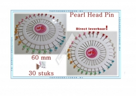 Pearl Headpin kleur 60mm met parel