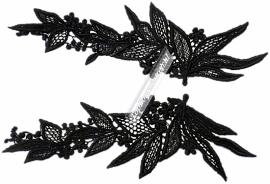 Black flower applicatie kant