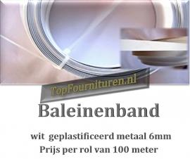 Baleinenband wit geplastificeerd metaal per rol 100 meter kleur wit