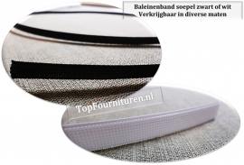 Baleinenband soepel 6 & 12mm wit / zwart (per meter)