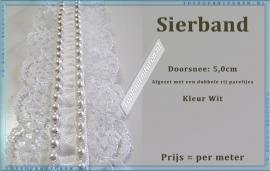 (SB700) Sierband met pareltjes 5,0 cm doorsnee kleur wit