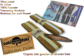 Sierband Galloon-Trim hoofdkleur Cognac