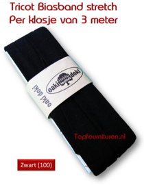 Tricot Biaisband Jersey zwart