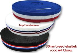 Rood wit blauw elastiek 3cm breed