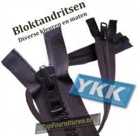 YKK bloktandritsen Nr.10 (robuste rits) kunststof zwart-bruin-blauw-beige 60/70/75/80/85 (jasritsen)