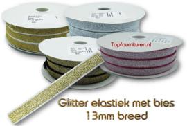 Glitterelastiek 13mm met bies