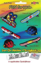 Patches skateboarden 6 stuks op blister