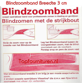 Blindzoomband 3cm breed zwart en wit