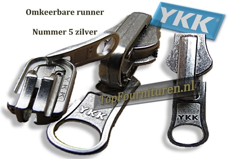 Omkeerbare runner voor YKK metaal tanding zilver & brons