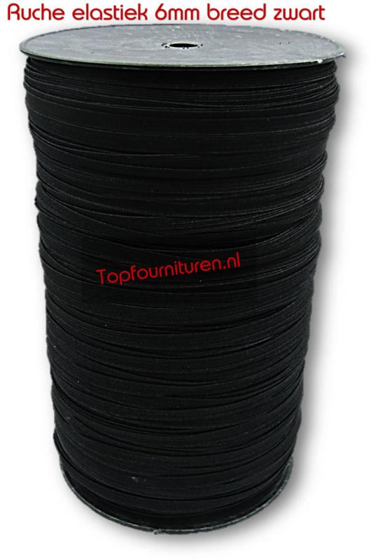breed elastiek 6mm zwart ruche per 10 meter/rol 200 meter