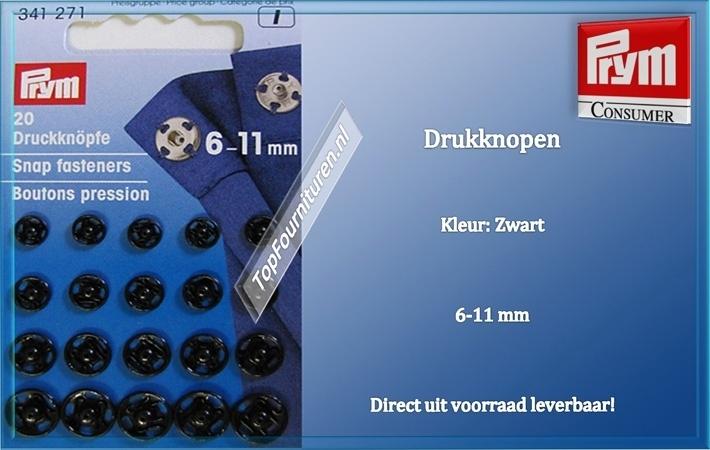 drukknopen 6-11 mm Zwart 341271 (I)