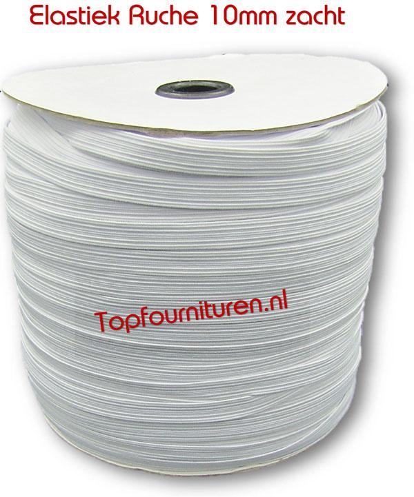 Ruche elastiek soepel 1cm breed per 10 meter/rol 250meter
