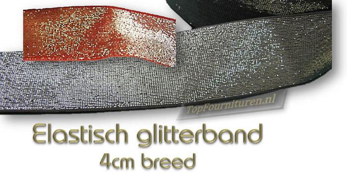 Glitterband elastiek 4cm breed