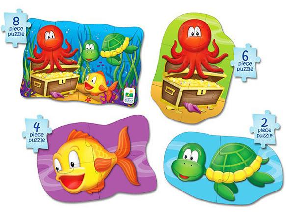 4-in-1 Puzzel ZeeBeestjes