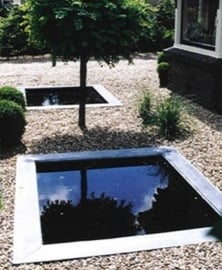 Square ponds,  with edges of zinc, copper, stainless steel or lead.