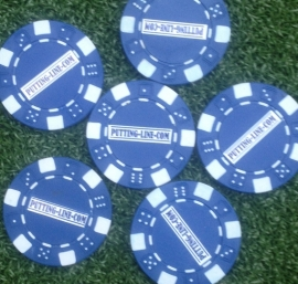 Ball marker (Pokerchips)  blue-white