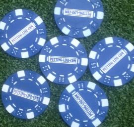 Bal marker (Pokerchips) blauw-wit
