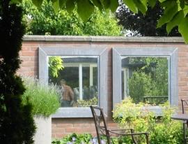 Spiegel in Zink, Koper en lood, afm 75x75cm (Rand 6cm)