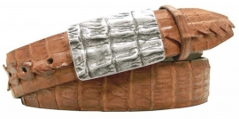 3-2563 Peanut, genuine American Hornback Crocodile leather.