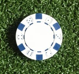 Bal marker (Pokerchips)  wit-blauw
