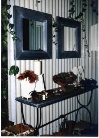 Mirror in Zinc, Lead, Copper, size 75x75cm / list 6cm