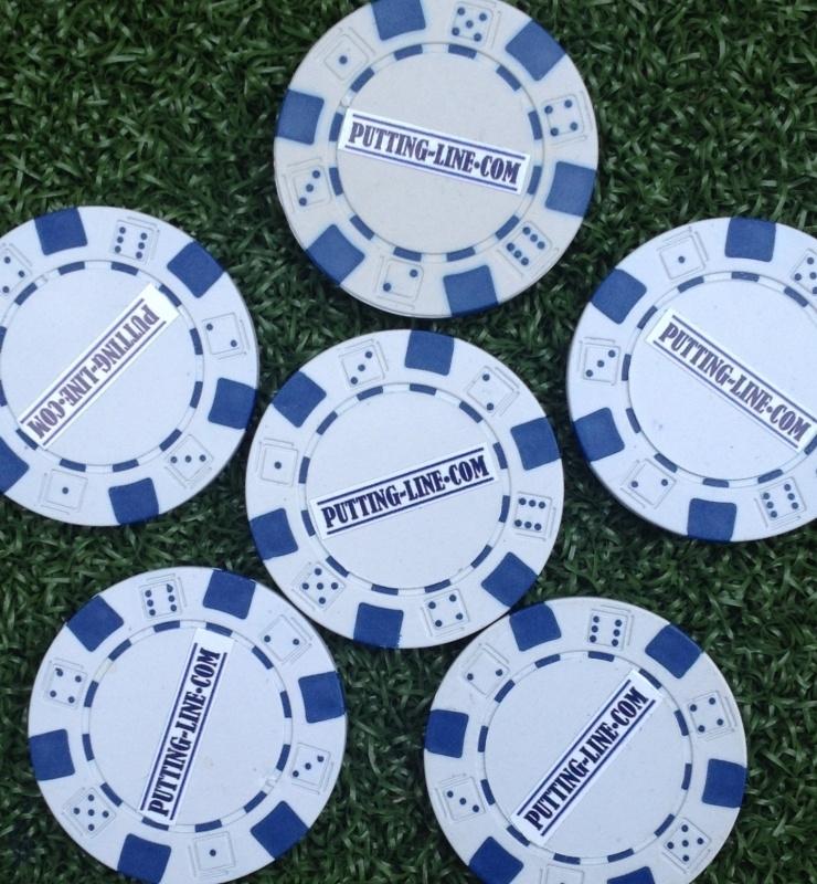 Ball marker (Pokerchips)  white-blue