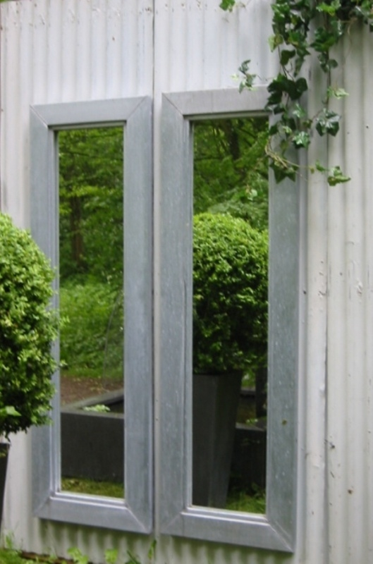Mirror in Zinc, Lead, Copper, size160x50cm / list 12cm