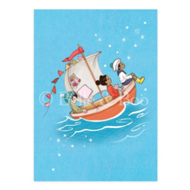 Belle & Boo postcard Sail Boat Dreams