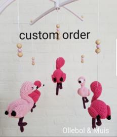 Custom order muziekmobiel flamingo's