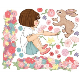 Muursticker Belle's bloemenveld