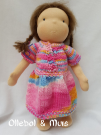 Handknitted doll dress for a 15-17 inch Waldorf doll