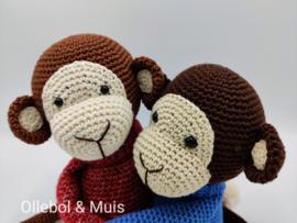 Crocheted monkey denim