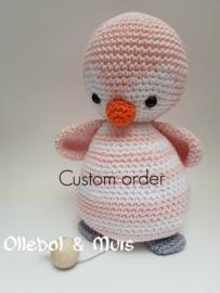 custom order muziekdoosje  roze Pinguin