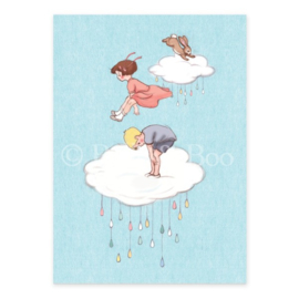 Belle & Boo postcard Cloud Jumping