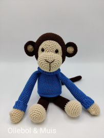 Crocheted monkey denim