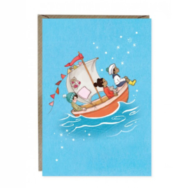 Greeting card Belle & Boo Sail Boat Dreams