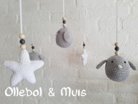 Muziekmobiel vogeltjes met sterren