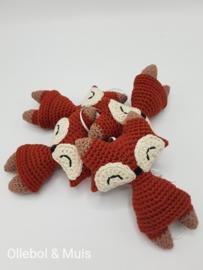 Crochet foxes for music mobile