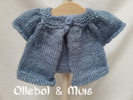 "Hand knitted cardigan / little kina for Waldorf style doll 12-15"" inch."