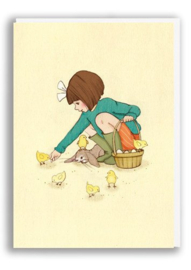 Greeting card Belle Feed the Chicks
