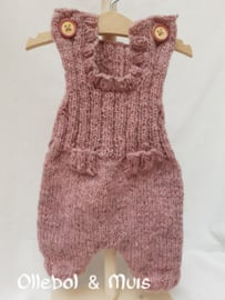 Hand knitted doll overal with matching kina