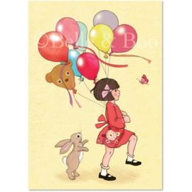 Belle & Boo ansichtkaart Balloon with Boo