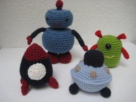 Robot, Ufo, Alien en Ruimteschipje