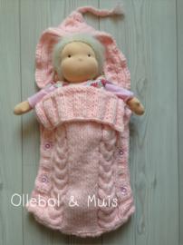 Handgestrickte rosa Schlafsack für Pop bis zu 42 cm