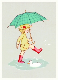 Belle & Boo postcard Umbrella
