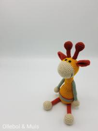 Crochet giraf mustard/peagreen/cream/brick