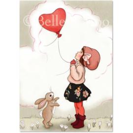 Belle & Boo ansichtkaart Heart Shaped Balloon