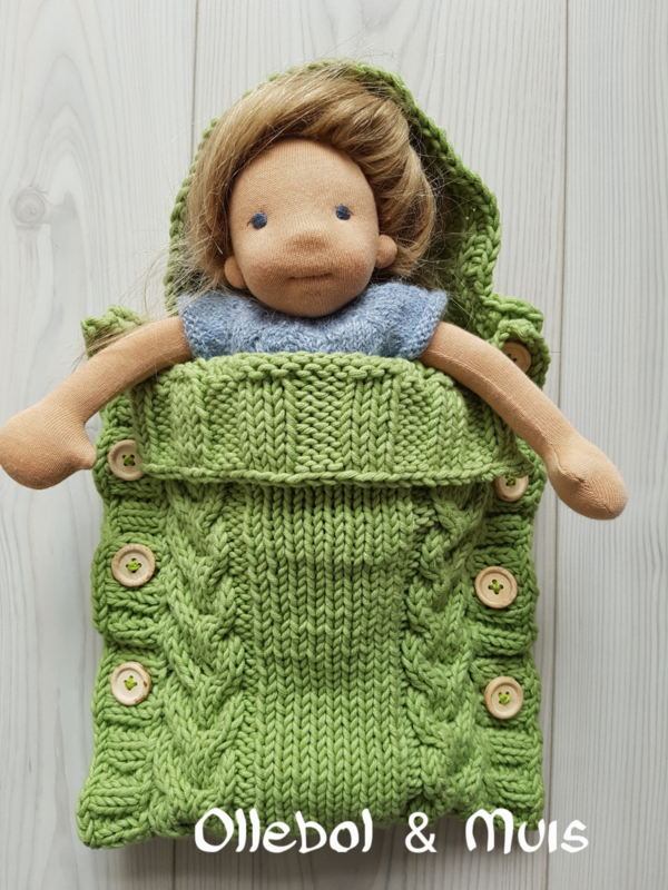 Hand knitted doll sleeping bag