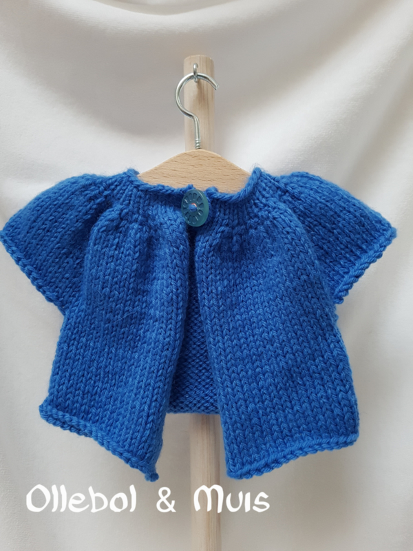 """Hand knitted cardigan / little kina for Waldorf style doll 15"""" - 18"""" inch."""